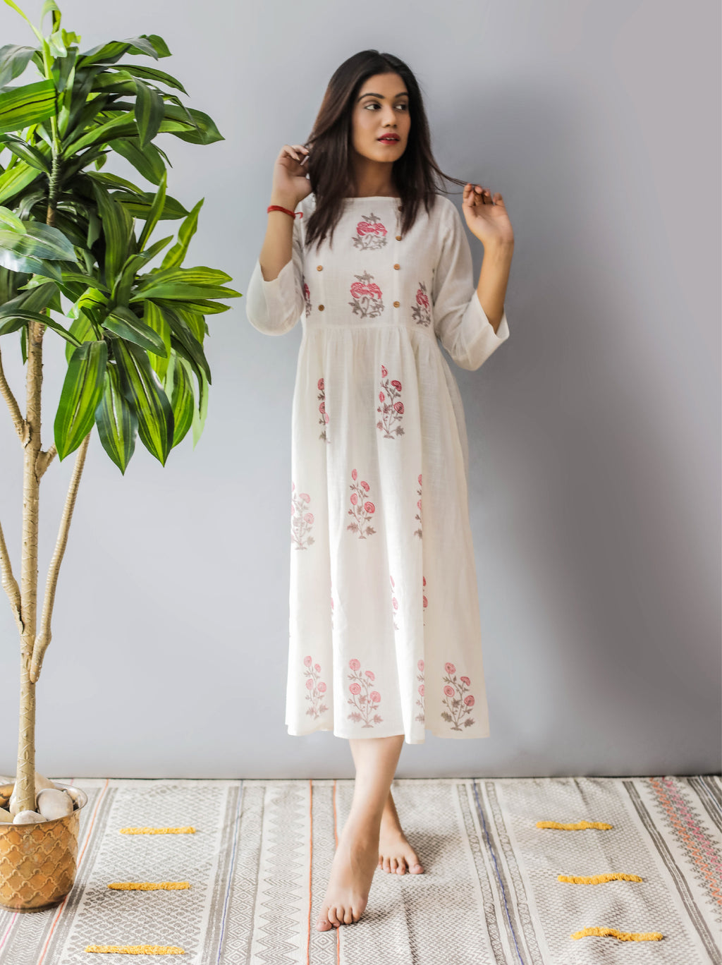 Spring Flower Block Print Maxi Dress