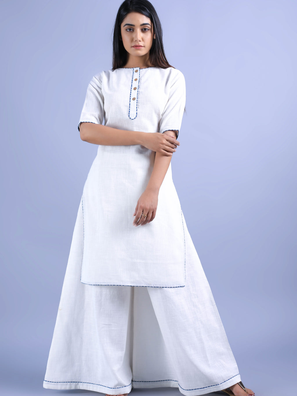 White Kurta Plazzo Set