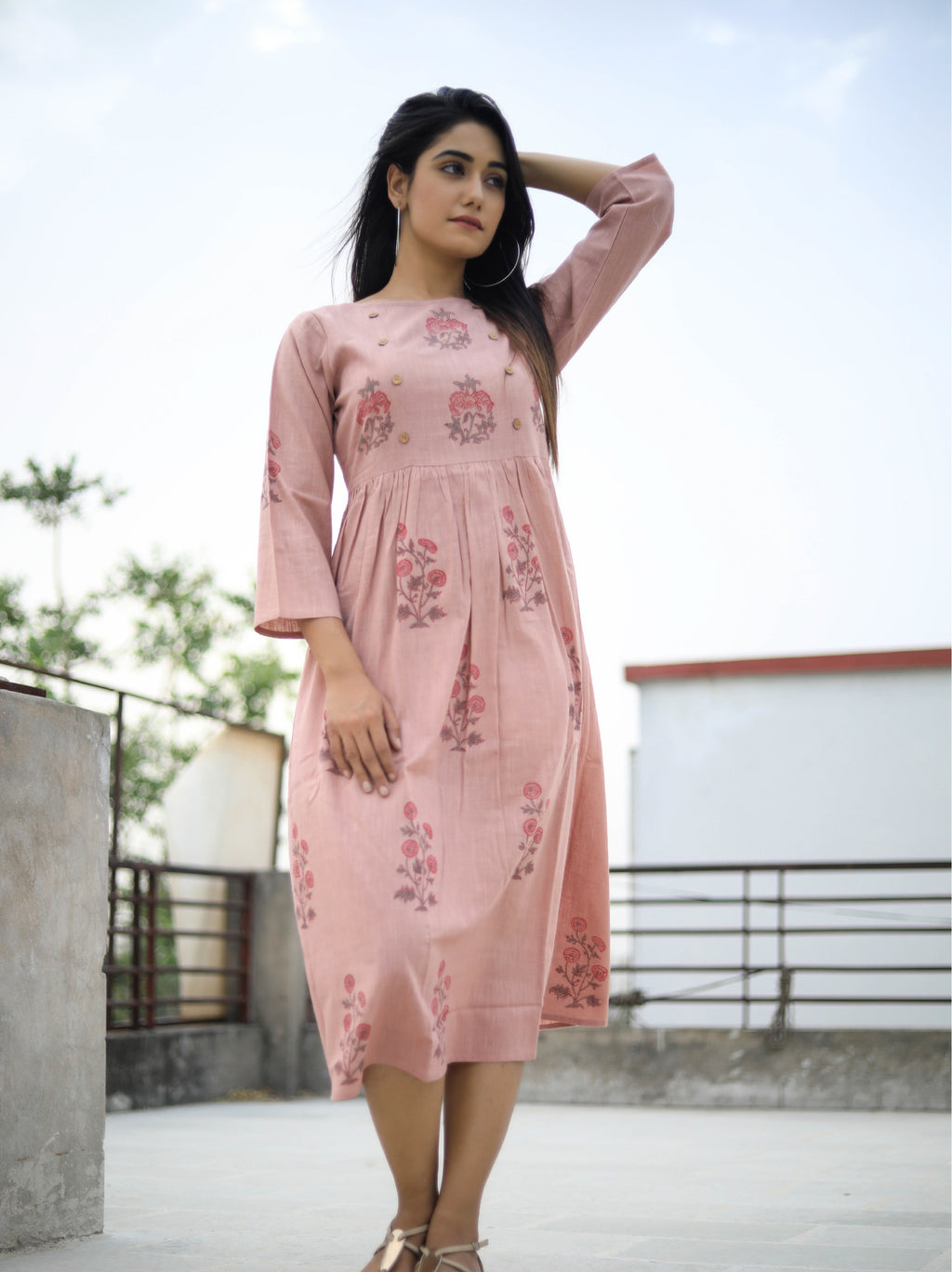 Peach Block Print Midi Dress