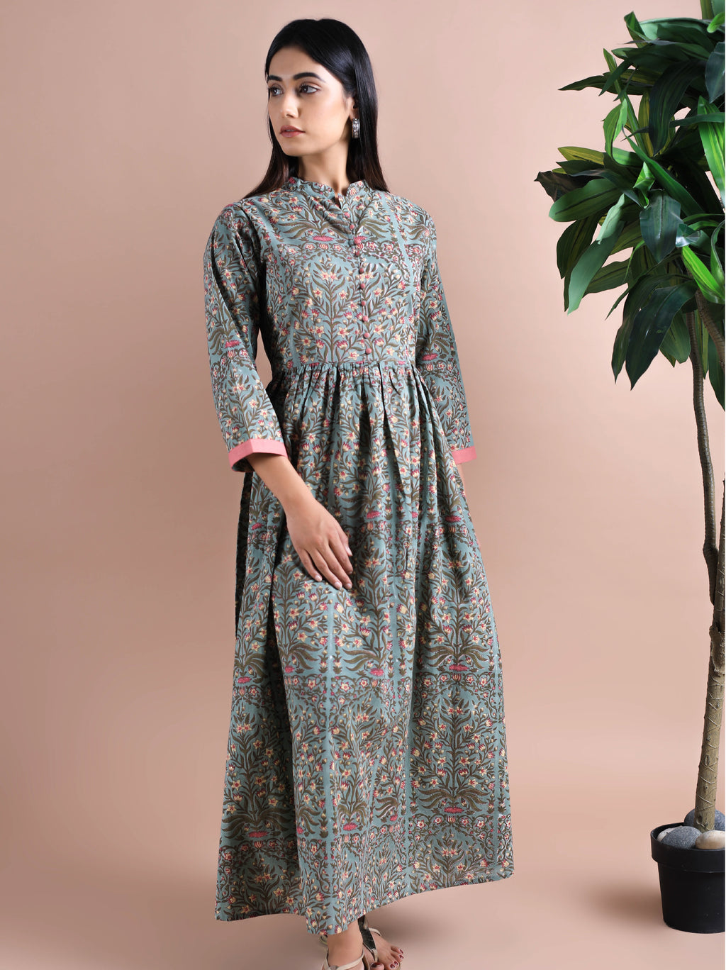 Bottle Green Soft Cotton Maxi Dress