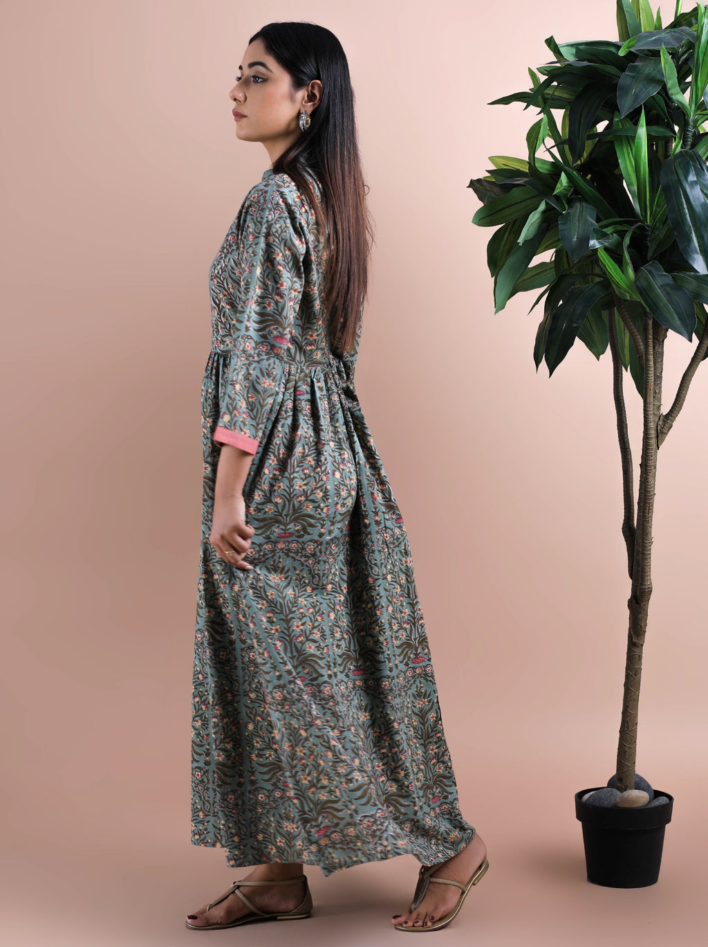 Cotton Floral Maxi Dress