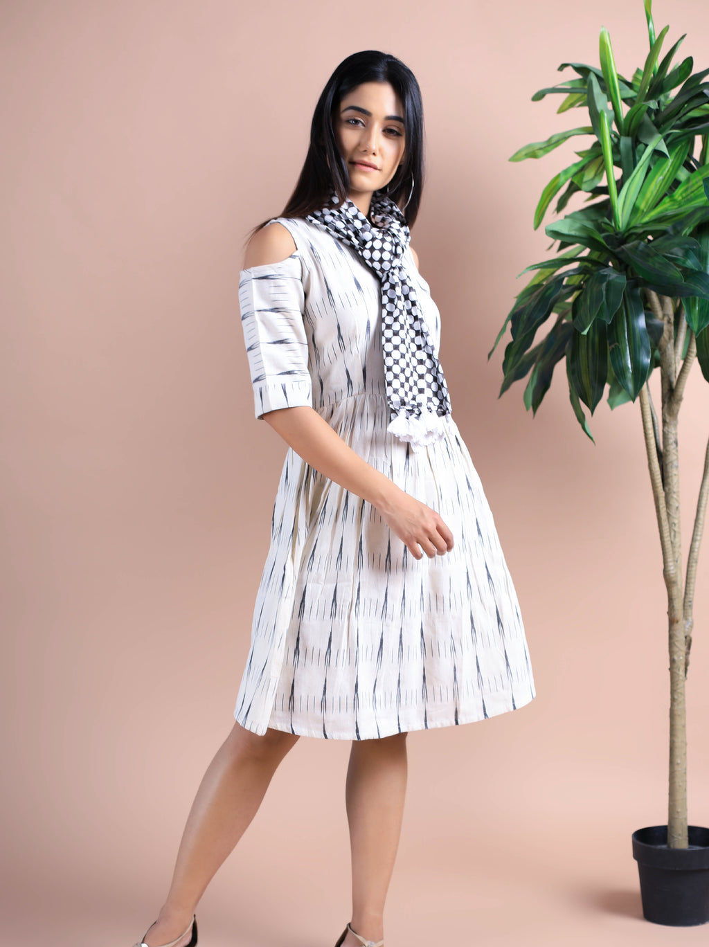 Cold Shoulder IkKat Print Dress