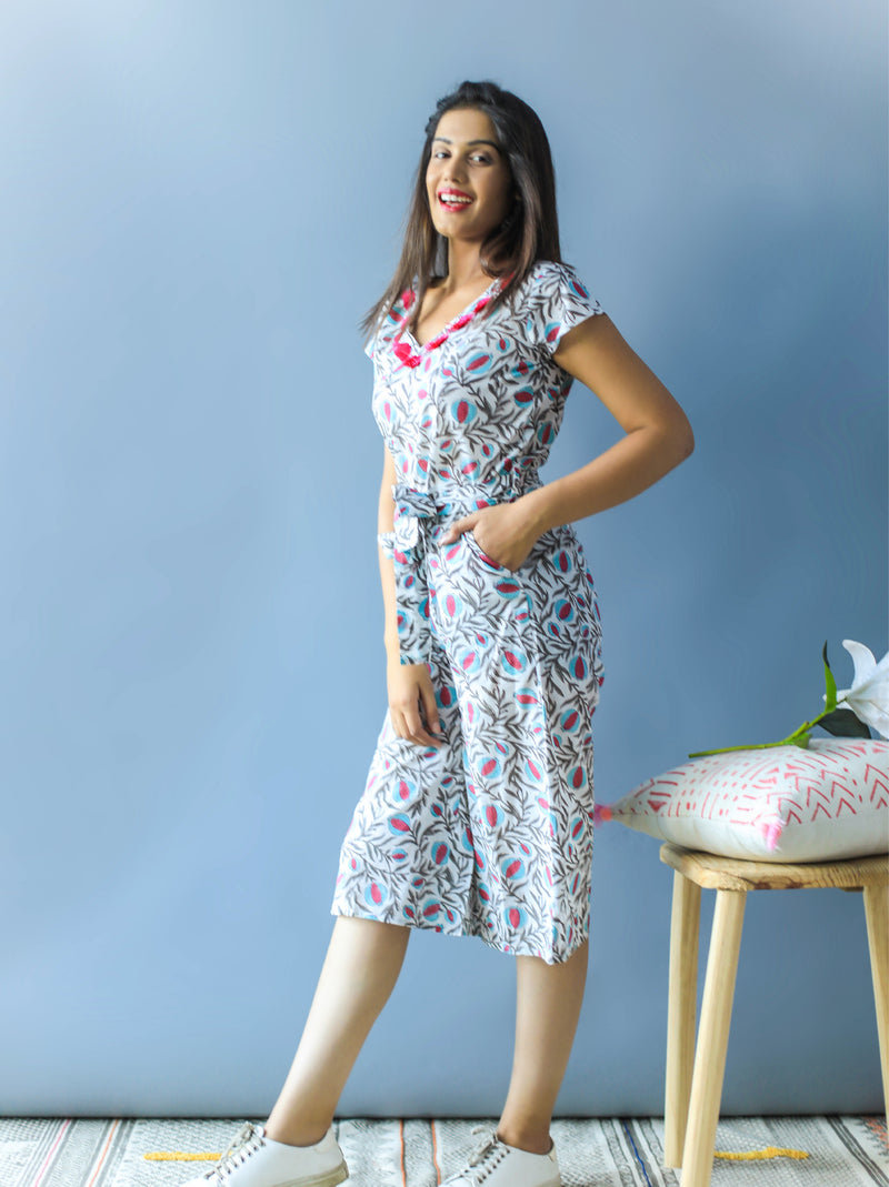 Floral Jumpsuit With Waist Belt