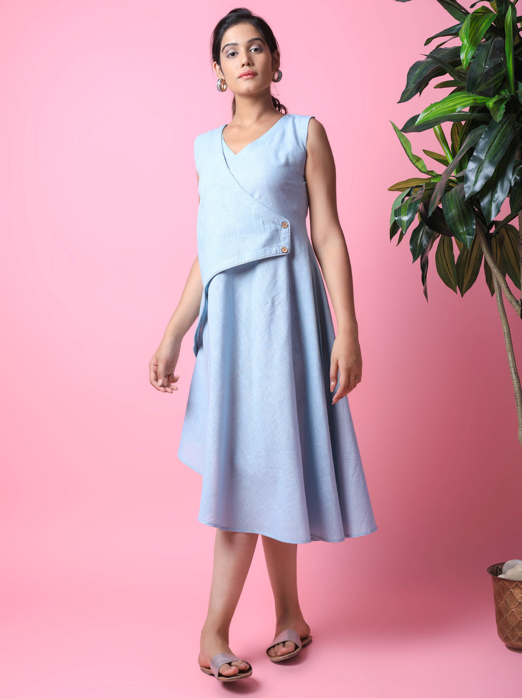Pastel Blue Knee Length Dress