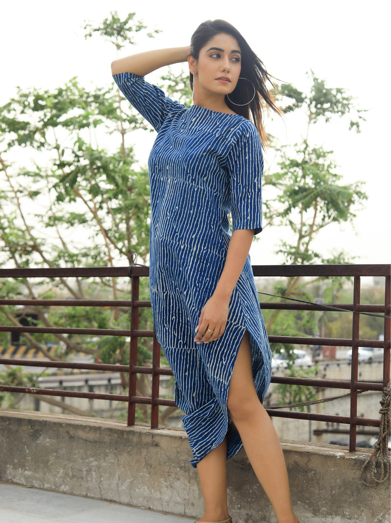 Blue Striped Block Print Dress