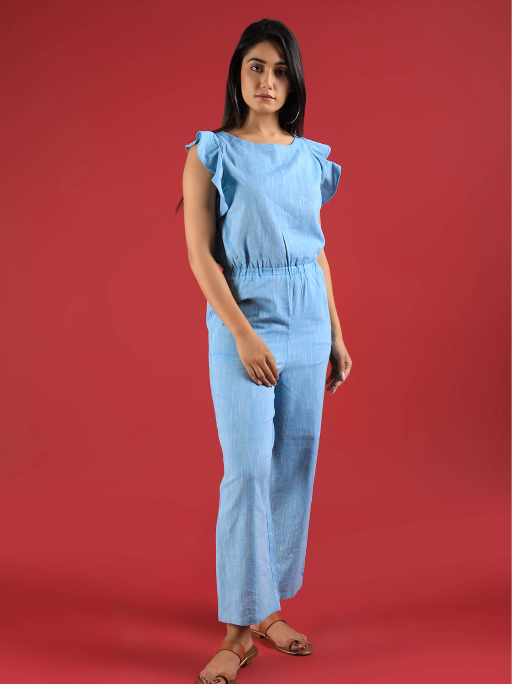 Chambray Linen Jumpsuit With Ruffled Shoulder