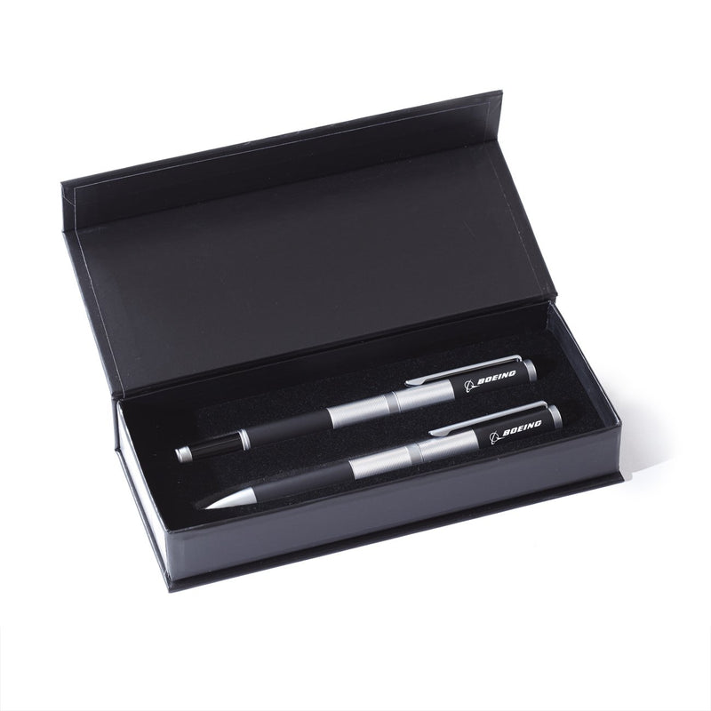 Boeing Black Satin Threaded Ballpoint And Rollerball Pen Boxed Set