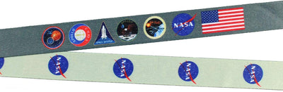 "Bioworld NASA ID Lanyard Badge Holder Classic Logo with 2"" Rubber Charm Pendant"