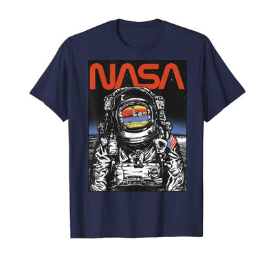 SAN NASA Astronaut Moon Reflection Vintage Retro T-Shirt