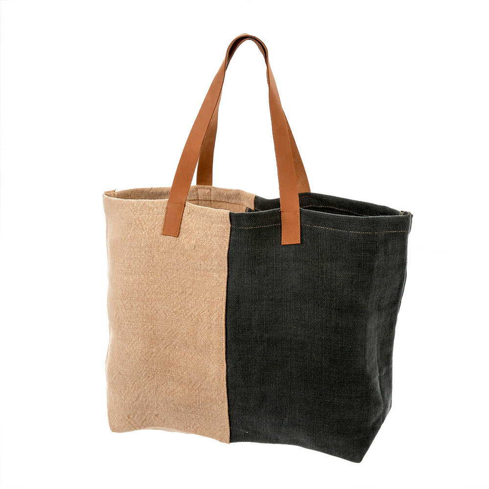 Soft Jute Tote, Charcoal - Letty Blu