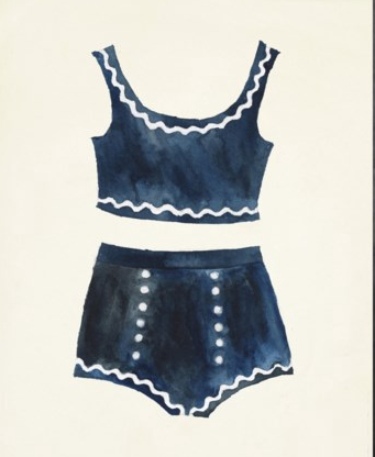 Vintage Blue Bathing Suit Wall Art - Letty Blu