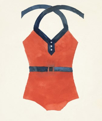 Vintage Orange and Blue Bathing Suit Wall Art - Letty Blu