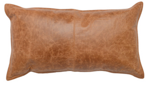 Harrison Chestnut Leather Lumbar Pillow - Letty Blu