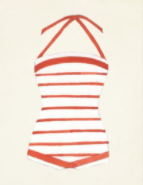 Load image into Gallery viewer, Orange and White Striped Vintage Bathing Suit Wall Art - Letty Blu