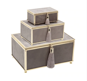 Grey Velvet Decorative Boxes - Set of Three - Letty Blu