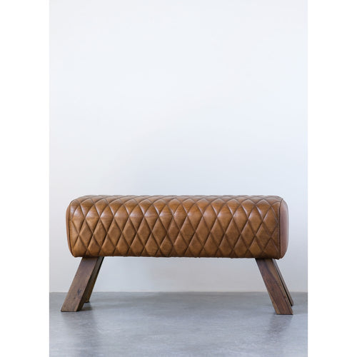 X - Stitched Leather Bench - Letty Blu