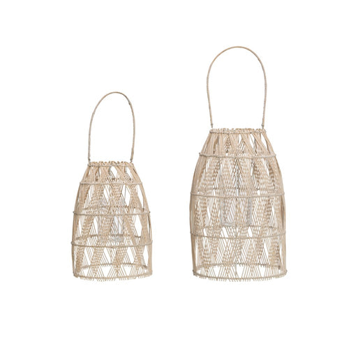 Woven Bamboo Lanterns Set of Two - Letty Blu