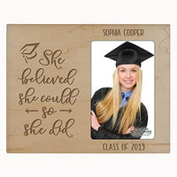 "LifeSong Milestones Personalized Vertical Photo Frame - Graduation Party Decorations Gift - Graduation Gift for Her Him Daughter Son Unique Graduate Ideas 8"" x 10"" She Believed (Black)"