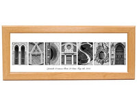 Personalized Name Sign Plaque with 12 by 26 inch Black Frame created with Black and White Architectural Alphabet Photographs for Personalized Gift, Wedding, Graduation, Anniversary, Childrens Name