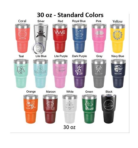 Groomsman 30 ounce Tumbler in Sets of 4 to 12 made of Stainless Steel Custom Engraved with a Clear Lid including Choices of Color, Design, Straw, Thank You Message and Spill Proof Slide Lid