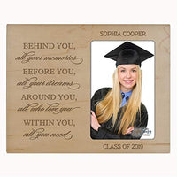 "LifeSong Milestones Personalized Vertical Photo Frame - Graduation Party Decorations Gift - Graduation Gift for Her Him Daughter Son Unique Graduate Ideas 8"" x 10"" Behind You (Maple)"