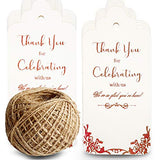 100 Thick Rose Gold Paper Gift Tags with String(Extra Long 328Feet Natural Jute Twine),Thank You Tags for Wedding Favors,Bridal Shower,Baby Shower Girl,Birthday,Graduation,Wine Bottle,Presents,Party