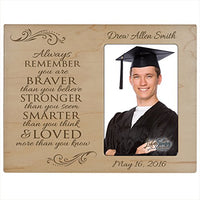 LifeSong Milestones Personalized Graduation Photo Frame for Graduate Ideas for Men and Women Custom Picture Frame Always Remember You are Braver Than You Believe Holds 4x6 Photo (Ivory)
