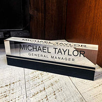 "Artblox Office Desk Name Plate Personalized | Custom Name Plates for Desks on Acrylic Glass Decor | Office Desk Decor Nameplate | Desk Accessories | Clear Gold Stripe - (8""x2.5"")"