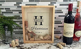 "Qualtry Personalized Wedding Gifts, Rustic Wedding Gift for The Groom and for Her - Wall Mounted Monogram Wine Cork Shadow Box Holder Display 11.25"" x 9.25"" (Browning Design)"