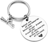 PiercingJ Personalized Custom College Graduation Gifts Behind You All Memories Before You All Your Dream Stainless Steel Graduation Keychain Key Ring Inspirational Graduates Gifts for Daughter Son