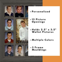 "Northland School-Years Picture Frame Personalized - Holds Twelve 2.5"" x 3.5"" School Photos and 5"" x 7"" Graduation Picture, Dark Gray Frame, Dark Gray Insert, Customizable with any name"