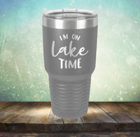 I'm on Lake Time - Engraved Tumbler Wine Mug Cup Unique Funny Birthday Gift Graduation Gifts for Men or Women Sun Lake house cabin (14 oz Mug, Navy)
