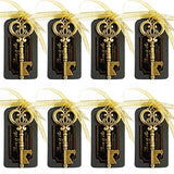 50pcs Vintage Key Bottle Opener Wedding Party Favors, Souvenir Gift Set for Guests, Rustic Decoration with Escort Tag Card (Antique Gold)