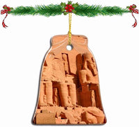 Fcheng Egypt Abu Simbel Temples Aswan Christmas Ornament Ceramic Xmas Tree Decor Bell Shape City Travel Souvenir Sublimation Porcelain Home Decorative Hanging Gifts