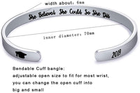 Graduation Gift for Women Cuff Bangle Bracelet Stainless Steel Engraved 2020 Graduation Cap Keep Fucking Going Inspirational Bracelet