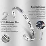Turandoss Graduation Gifts Cuff Bracelets - 316L Stainless Steel Personalized Engraved Mantra Quote Keep Going Cuff Bracelet for Women Motivational Graduation Gifts for Her