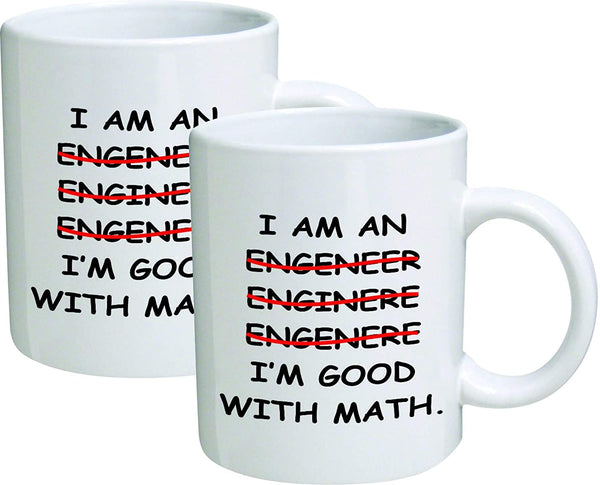 Willcallyou Pack of 2 Engineer, I'm good with Math 11 Ounces Funny White Coffee Mug