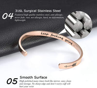 CERSLIMO Bracelets Inspirational Gifts for Women,Stainless Steel Personalized Engraved Positive Quote Keep Going Bracelets Cuff Bangle Motivational Friendship Encouragement Gifts for Men Teens Girls