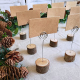 "Supla 20 Pcs Rustic Wood Place Card Holders with Swirl Wire Wooden Bark Memo Holder Stand Card Photo Picture Note Clip Holders 5.8"" and Kraft Place Cards Bulk for Wedding Party Table Number Name Sign"