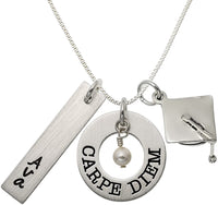 Personalized Carpe Diem Sterling Silver Graduation Necklace. Customize a Rectangle Charm. Choice of Sterling Silver Chain. Perfect Graduation Gift For Your Loved Ones. Great Gift Idea For Your Kids.