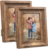 8x10 Picture Frames Set of 2 Poster Vintage Brown Wood Rustic Family Art 10x8 Photo Frame for Vertical Horizontal Tabletop Standing or Wall Hanging