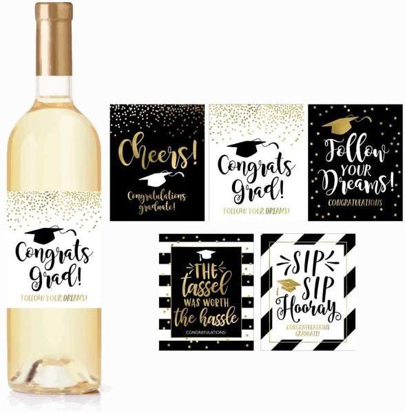 5 Graduation Gift Wine Labels or Stickers For Men or Women, Cute Unique Party Decoration Supplies Ideas, Best Present For Adult College, University, Masters, PHD, Nurse RN Navy Army Doctorate Graduate