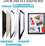 Shadow Box Frame Wood Black Display Case with Linen Back, Keep Awards, Medals, Pins, Tickets, Certificates, Photos, Pictures Frames (Black,1 Pack, 16x20)