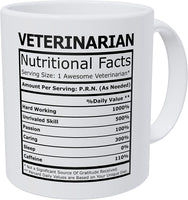 Wampumtuk Veterinarian Nutritional Facts Funny Coffee Mug 11 Ounces Inspirational And Motivational