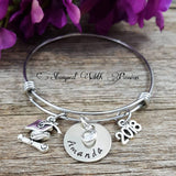 Graduation Bracelet, Personalized Graduation Gift 2019, Hand Stamped Graduation Jewelry, Unique Custom Bracelet Graduate Bracelet 2019, Class of 2019, Class of 2020, Class of 2021, Class of 2022