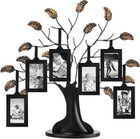 "Americanflat Bronze Family Tree Frame with 6 Hanging Picture Frames Each Sized 2""x3"" with Adjustable Ribbon Tassels"