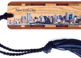 New York City Skyline - Color Wooden Bookmark with Tassel - Also Available Personalized
