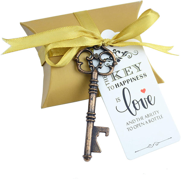 50pcs Wedding Favor Souvenir Gift Set Pillow Candy Box Vintage Skeleton Key Bottle Openers Escort Gift Card Thank You Tag French Ribbon(Rose Gold)