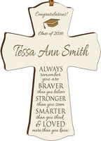 "LifeSong Milestones Personalized Graduation Gifts for Graduate Ideas for Men and Women Custom Wall Cross Always Remember You are Braver Than You Believe (4.5"" x 6"", White)"