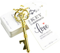 Aokbean 52pcs Vintage Skeleton Key Bottle Opener Party Favor Wedding Favor Guest Souvenir Gift Set with Escort Thank You Tag Card and Keychain(Antique Copper)